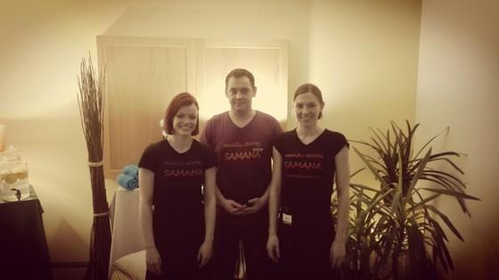 Andis,Elīna un Ieva-mūsu masieri.